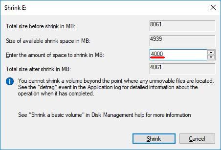 Windows Shrink Volume