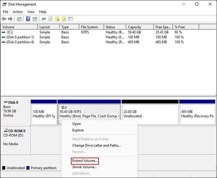 Windows Disk Management Extend Volume