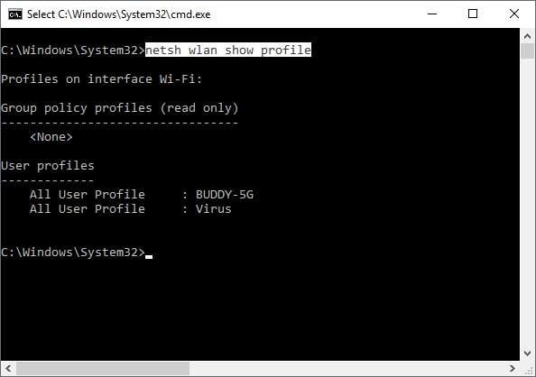 Command Line Find Wireless Password