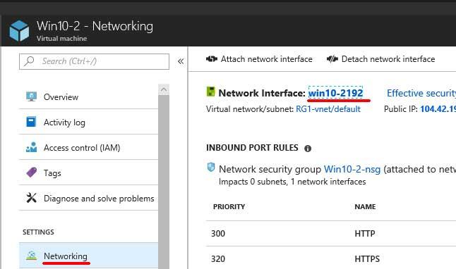 Microsoft Azure network interface