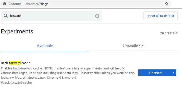 Chrome forward-backward cache