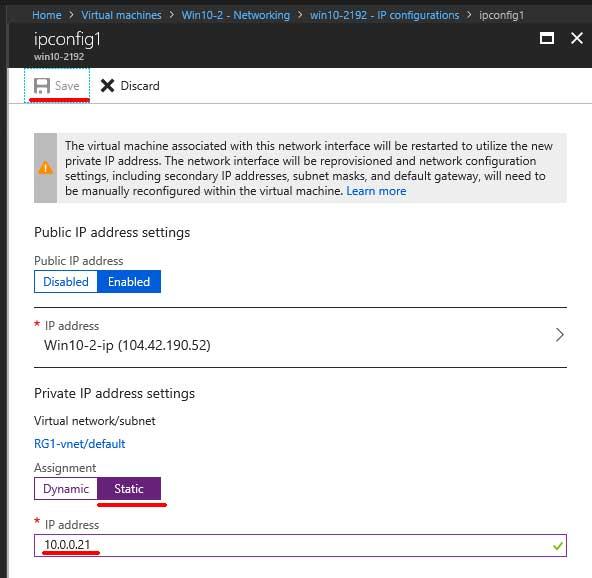 Microsoft Azure ipconfig
