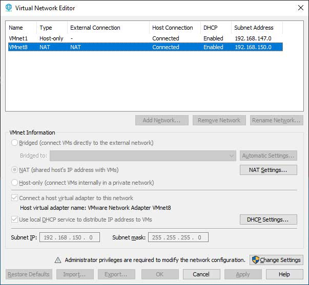VMware Workstation Virtual Network Editor