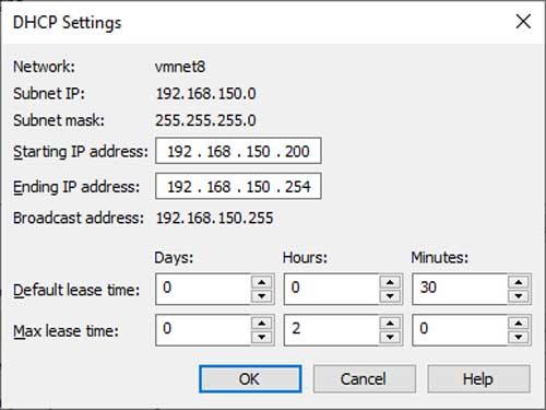 VMware Workstation Virtual Network Editor DHCP Settings