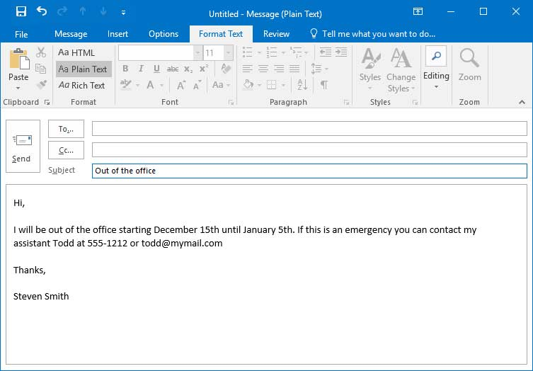 Outlook Auto Reply Template