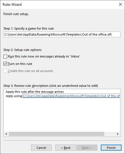 Outlook Auto Reply Configuration