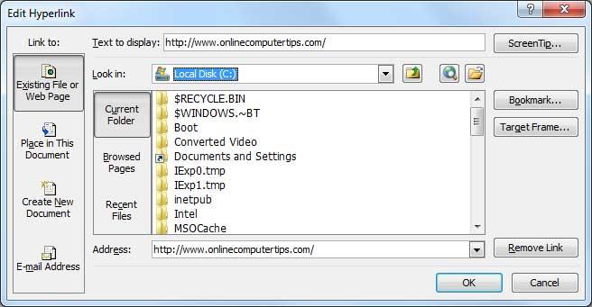 Edit Hyperlink Window