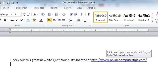 Edited Word Hyperlink Text