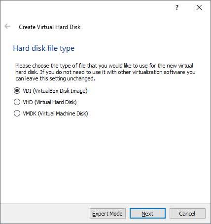 VirtualBox hard disk type
