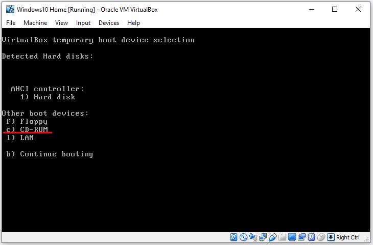 VirtualBox F12 Boot Options