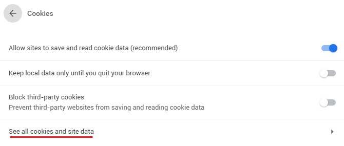 Google Chrome Cookies Settings