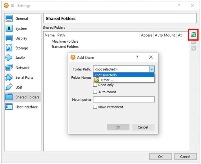 VirtualBox Shared Folders Settings