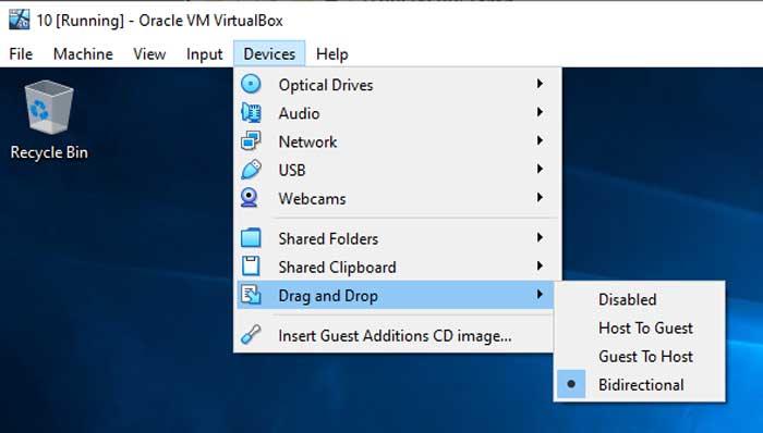 VirtualBox Drag and Drop Settings