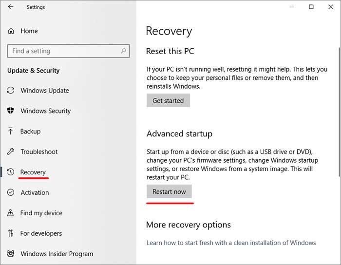 Windows 10 Settings Recovery
