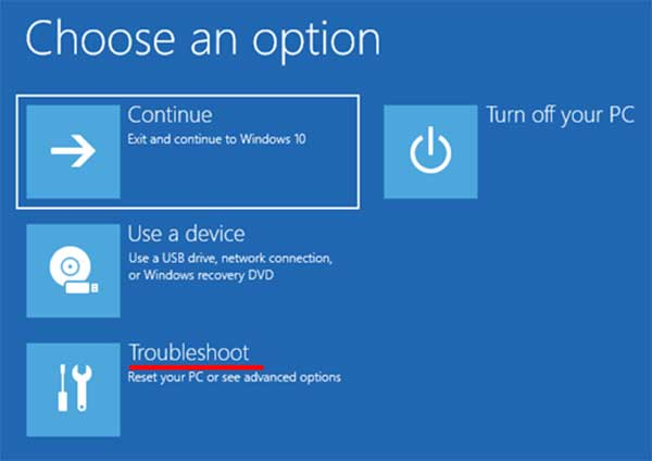 Windows 10 Recovery Choose an Option