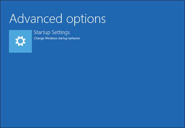 Windows 10 Recovery Startup Settings