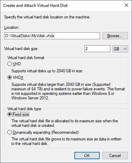 Create and attach virtual hard disk