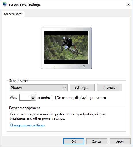 Windows screensaver settings