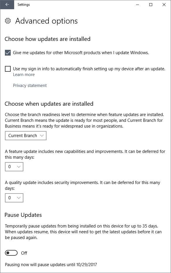Windows 10 updates advanced options