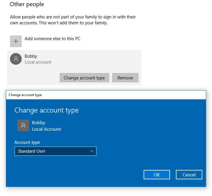 Windows Change Account Type