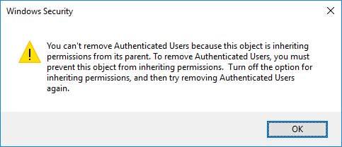 Windows security inheriting permissions