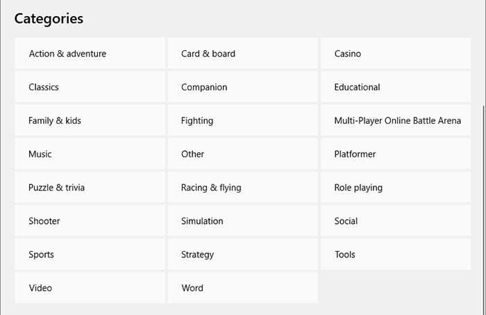 Microsoft Store Categories
