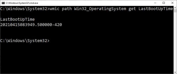 wmic path Win32_OperatingSystem get LastBootUpTime