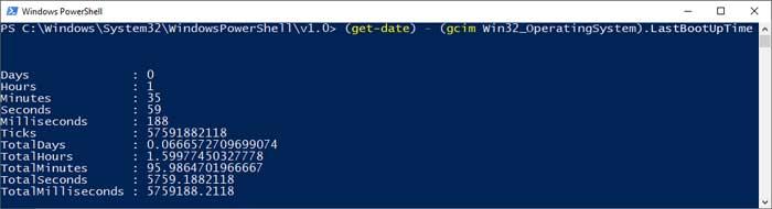 (get-date) – (gcim Win32_OperatingSystem).LastBootUpTime