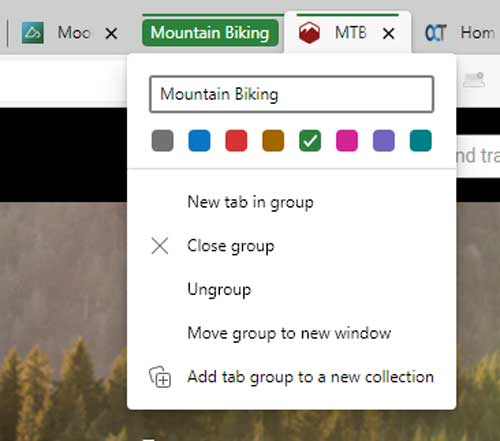 Microsoft Edge Grouped Tabs